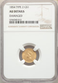 Gold Dollars, 1854 G$1 Type Two -- Damaged -- NGC Details. AU. Mintage 783,943....