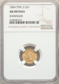 1854 G$1 Type Two -- Damaged -- NGC Details. AU. Mintage 783,943....(PCGS# 7531)