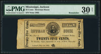 Jackson, (MS)- Bowman House 25¢ May 26, 1862 Remainder PMG Very Fine 30 Net