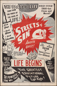 """Streets of Sin/Life Begins Combo (1950s). One Sheet (27"""" X 41""""). Exploitation"""