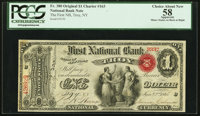 Troy, NY - $1 Original Fr. 380 The First National Bank Ch. # 163 PCGS Apparent Choice About New 58