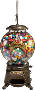 """Baseball Collectibles:Others, 1920's """"EZ Ball Gum Machine"""" with Baseball Theme...."""