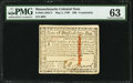 Massachusetts May 5, 1780 $20 Contemporary Counterfeit PMG Choice Uncirculated 63