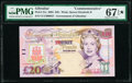 Gibraltar Government of Gibraltar 20 Pounds 4.8.2004 Pick 31a Commemorative PMG Superb Gem Unc 67 EPQ&#973