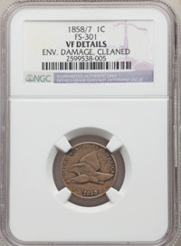 1858/7 1C Large Letters, Snow-1, FS-301, -- Cleaned, Environmental Damage -- NGC Details. VF. Mintage 24,600,000. ...(PC...