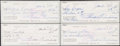 Autographs:Others, 1984 Ted Williams Signed Checks, Lot of 4....