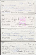 Autographs:Others, Ted Williams Signed Checks, Lot of 4. Offered are ...