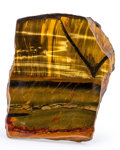 Lapidary Art:Carvings, Tiger's-Eye Piece. Mt. Brockman Station. Pilbara. Western Australia. 5.30 x 4.42 x 1.94 inches (13.47 x 11.23 ...