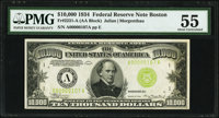 Fr. 2231-A $10,000 1934 Federal Reserve Note. PMG About Uncirculated 55