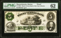 Boston, MA- Mount Vernon Bank of the City of Boston $5 Dec. 1, 1860 G8a Proof PMG Uncirculated 62