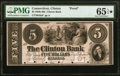 Clinton, CT- Clinton Bank $5 18__ as G8a Proof PMG Gem Uncirculated 65 EPQ★