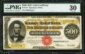 Large Size:Gold Certificates, Fr. 1217 $500 1922 Gold Certificate PMG Very Fine 30.. ...