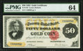 Large Size:Gold Certificates, Fr. 1193 $50 1882 Gold Certificate PMG Choice Uncirculated 64.. ...