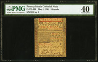 Pennsylvania May 1, 1760 £5 PMG Extremely Fine 40