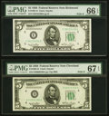 Small Size:Federal Reserve Notes, Fr. 1961-D $5 1950 Wide II Federal Reserve Note. PMG Superb Gem Unc 67 EPQ;. Fr. 1961-E $5 1950 Wide II Federal Reserve No... (Total: 2 notes)