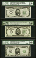 Small Size:Federal Reserve Notes, Fr. 1956-A $5 1934 Mule Federal Reserve Note. PMG Gem Uncirculated 65 EPQ;. Fr. 1956-C $5 1934 Mule Federal Reserve Note. ... (Total: 3 notes)