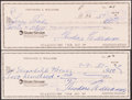 Autographs:Others, Ted Williams Signed Checks, Lot of 2. ...