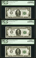 Fr. 2151-G $100 1928A Federal Reserve Notes. Cut Half Sheet of Six. PCGS Graded. ... (Total: 6 notes)