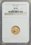 Indian Quarter Eagles: , 1914 $2 1/2 AU58 NGC. NGC Census: (1667/5821). PCG...