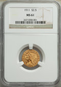 Indian Quarter Eagles: , 1911 $2 1/2 MS61 NGC. NGC Census: (3193/7488). PCG...