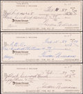 Autographs:Others, Ted Williams Signed Checks, Lot of 3. Offered are...