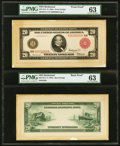 Large Size:Federal Reserve Notes, Fr. 956a $20 1914 Red Seal Federal Reserve Note Front and Back Proofs PMG Choice Uncirculated 63.. ...