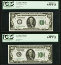 Small Size:Federal Reserve Notes, Fr. 2150-E $100 1928 Federal Reserve Notes. Two Consecutive Examples. PCGS Choice New 63PPQ.. ... (Total: 2 notes)