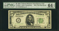 Fr. 1956-J $5 1934 Federal Reserve Note. Non-Mule Back Plate 637 PMG Choice Uncirculated 64 EPQ