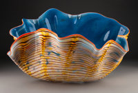 Large Dale Chihuly Macchia Glass Seaform with Red Lip Wrap, 1986 Marks: Chihuly, 1986 13-1/2 x 22 x