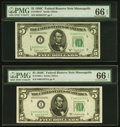 Small Size:Federal Reserve Notes, Fr. 1964-I and Fr. 1964-I* $5 1950C Federal Reserve Notes. PMG Gem Uncirculated 66 EPQ.. ... (Total: 2 notes)