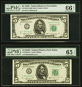 Small Size:Federal Reserve Notes, Fr. 1964-K $5 1950C Federal Reserve Note. PMG Gem Uncirculated 66 EPQ.. Fr. 1964-K* $5 1950C Federal Reserve Note. PMG Gem... (Total: 2 notes)