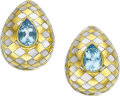 Estate Jewelry:Earrings, Aquamarine, Mother-of-Pearl, Gold Earrings, Angela Cummings . ...