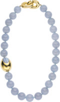 Estate Jewelry:Necklaces, Chalcedony, Gold Necklace, Angela Cummings . ...