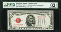 Fr. 1528* $5 1928C Mule Legal Tender Note. PMG Choice Uncirculated 63 EPQ