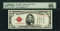 Fr. 1531* $5 1928F Wide I Legal Tender Note. PMG Gem Uncirculated 66 EPQ