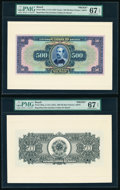 Brazil Thesouro Nacional 500 Mil Reis ND(1931) Pick 92fp; 92bp Front and Back Proofs PMG Superb Gem Unc 67 EPQ