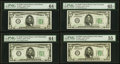 Small Size:Federal Reserve Notes, $5 1934B Federal Reserve Notes PMG Graded.. Fr. 1958-A Choice Uncirculated 64 EPQ;. Fr. 1958-C Choice Uncirculated 64 ... (Total: 4 notes)