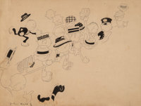 John Held Jr. (American, 1889-1958) Along the Line Ink on paper 9-1/4 x 12 inches (23.5 x 30.5 cm) (sight) Signed lo