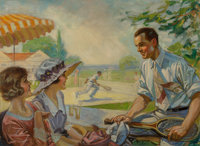 R. G. Morgan (American, 20th Century) Tennis Filled Afternoon Oil on canvas 23 x 32 in. (image)