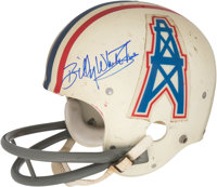 """1975-76 Billy """"White Shoes"""" Johnson Game Worn & Signed Houston Oilers Helmet - Only Known Exemplar!"""