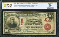 Santa Ana, CA - $10 1902 Red Seal Fr. 613 The Farmers & Merchants National Bank Ch. # (P)7980 PCGS Banknote Very Fin...