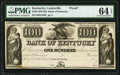 Obsoletes By State:Kentucky, Louisville, KY- Bank of Kentucky $100 18__ G436 as Hughes 518 PMG Choice Uncirculated 64 EPQ.. ...