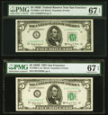 Small Size:Federal Reserve Notes, Fr. 1966-L $5 1950E Federal Reserve Note. PMG Superb Gem Unc 67 EPQ (2).. ... (Total: 2 notes)