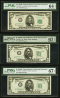 Small Size:Federal Reserve Notes, San Francisco District Trio $5 1950B Federal Reserve Notes PMG Graded.. ... (Total: 3 notes)
