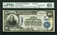 Tacoma, WA - $10 1902 Date Back Fr. 617 The Pacific National Bank Ch. # (P)3417 PMG Gem Uncirculated 65