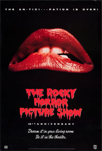 "The Rocky Horror Picture Show (CBS/Fox, R-1990). Rolled, Very Fine. 15th Anniversary Video Poster (25.5"" X 38""..."