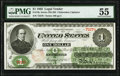 Large Size:Legal Tender Notes, Fr. 16c $1 1862 Legal Tender PMG About Uncirculated 55.. ...