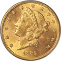 Liberty Double Eagles, 1889 $20 MS62 PCGS....