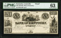 Obsoletes By State:Kentucky, Louisville, KY- Bank of Kentucky $20 18__ G416 Hughes 506 Proof PMG Choice Uncirculated 63.. ...