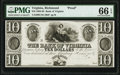 Obsoletes By State:Virginia, Richmond, VA- Bank of Virginia $10 18__ as UNL (Design 10G) as Jones Littlefield BR130-48 PMG Gem Uncirculated 66 ...
